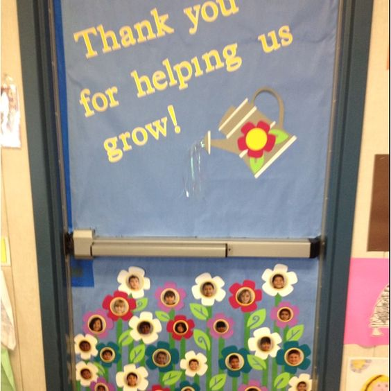 Thank you for helping us grow! Door decorations for teacher appreciation week. Each flower has a picture of a student. The teachers picture will be on the watering can. things-i-ve-made