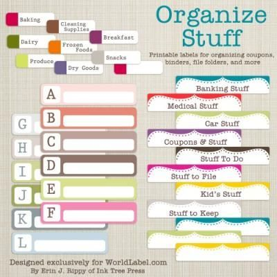 Organize your stuff with file folder labels, labels for coupons, binders and more. Downloads are free. Labels are in fillable editable PDF templates which you can print on your laser and inkjet printers.