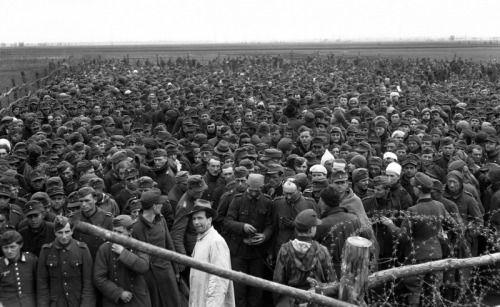 German POWs in their holding camp outside of Heidelberg, 1945