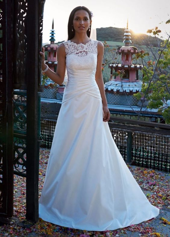Sample taffeta a line wedding dress with illusion lace for A line illusion neckline wedding dress