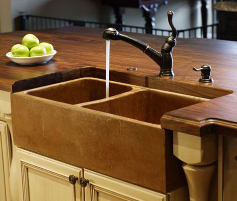 Concrete Sink Wood Countertop Farm Inspiration Dream Home Pinterest Concrete Sink