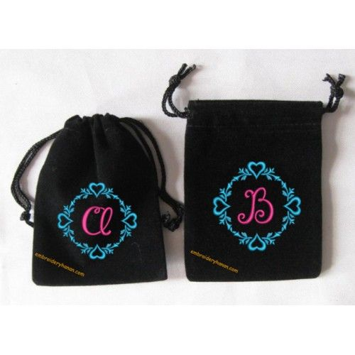 Floral Heart Monogram 26 letters machine embroidery 4x4 only 6.99$