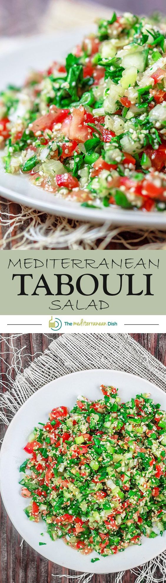 Tabouli Recipe (Tabbouleh)   The Mediterranean Dish. Authentic Middle Eastern tabouli salad with fresh parsley, mint, bulgur, finely chopped vegetables and a simple citrus dressing. See the step-by-step tutorial at The Mediterranean Dish food blog.