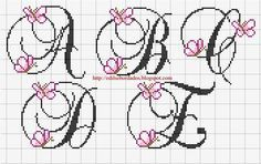 A-E butterfly cross stitch alphabet