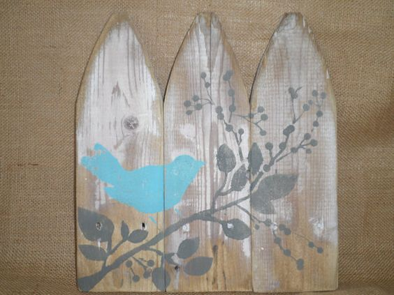 Reclaimed Rustic Simple Wood Blue Aqua Birds Wall Decor