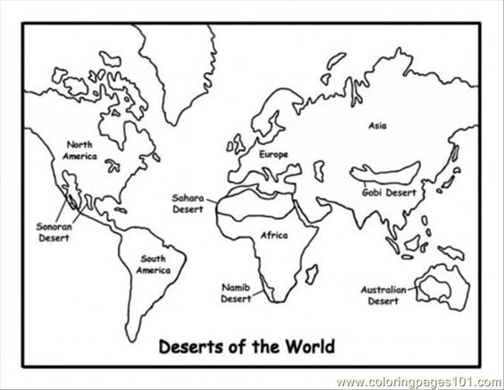 Map Of Deserts Coloring Page World Map Coloring Page Coloring