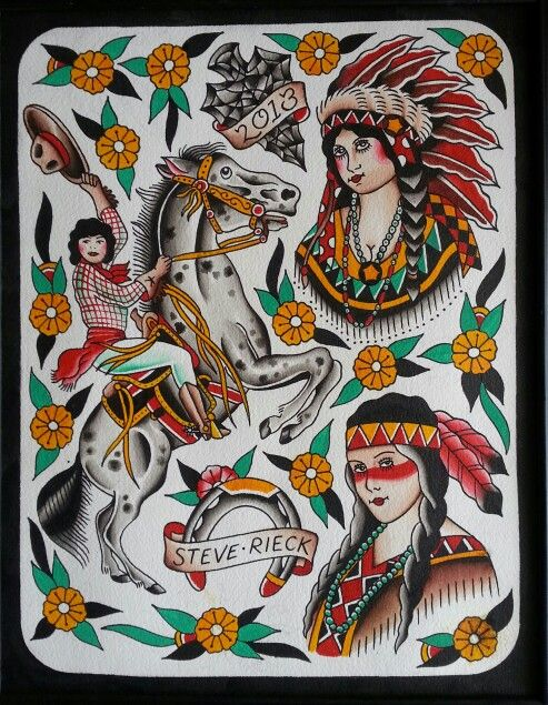 cowboys and indians traditional tattoo flash and traditional tattoos on pinterest. Black Bedroom Furniture Sets. Home Design Ideas