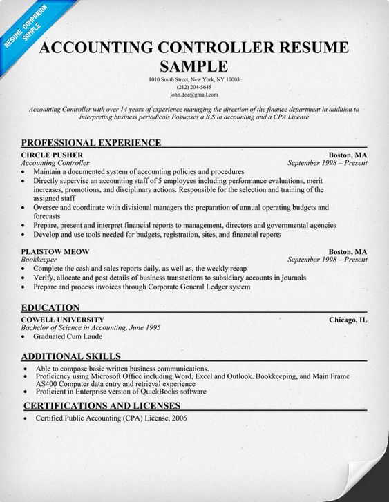 Accounting Controller Resume (Resumecompanion.Com) | Resume
