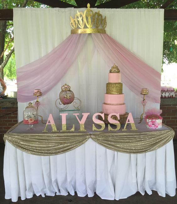 Princess Baby Shower Cake Table / Backdrop Princess Baby Shower Ideas /  Cake / Center Piece