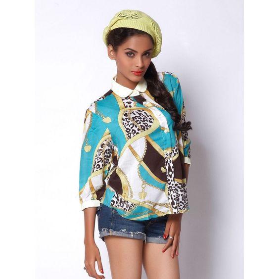 Tops and Tunics, Printed Shirt with Peter Pan Collar