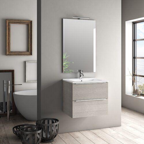 61 Cm Wandmontierter Waschtisch Mit Spiegel Ebern Designs