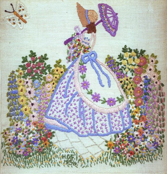 Embroidery- crinoline lady: