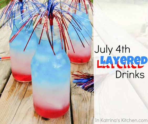 July 4th Layered Drinks...keep them kid friendly.  Love the sparkler on top!
