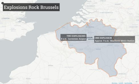 (Map of Brussels) Attack Kills 31 in Brussels Belgium