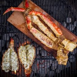 Grilled Lobster Tail and Planked King Crab Legs.