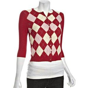 Autumn Cashmere Red Argyle Cashmere Crewneck Cardigan