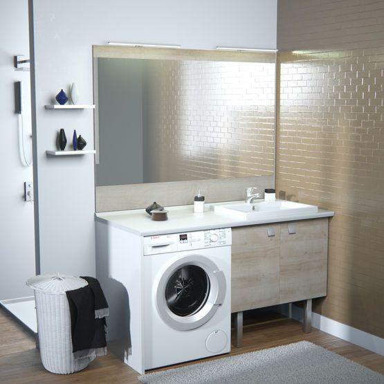 Meuble Vasque De Salle De Bain Avec Emplacement Lave Linge Concept Machine A Laver Chene Vert With Images Bathroom Design Layout Bathroom Design Bathrooms Remodel