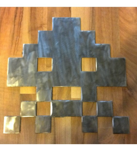 Stainless Space Invader Sign, Outdoor, Indoor, Whatever. $25.00, via Etsy.