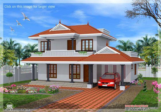 3 Bedroom Sloping Roof Kerala Home Kerala House Design Courtyard House Plans Home Design Floor Plans