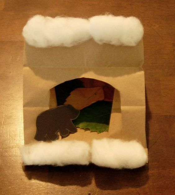 Bear in a cave craft bags caves and bear crafts for Hibernation crafts for kids