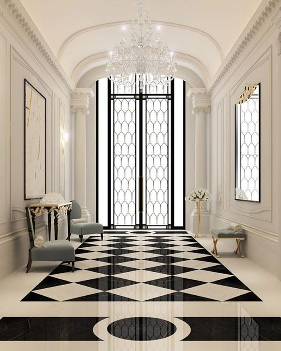 Amazing Home Foyers : Amazing hallway with cristal chandelier see my post about