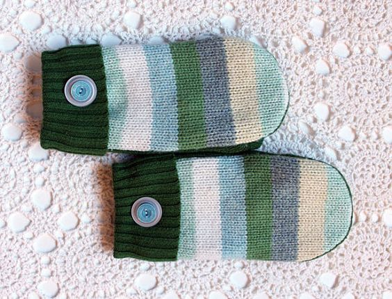 Unique and cozy mittens made by The Renegade Seamstress from recycled sweaters. Green stripes