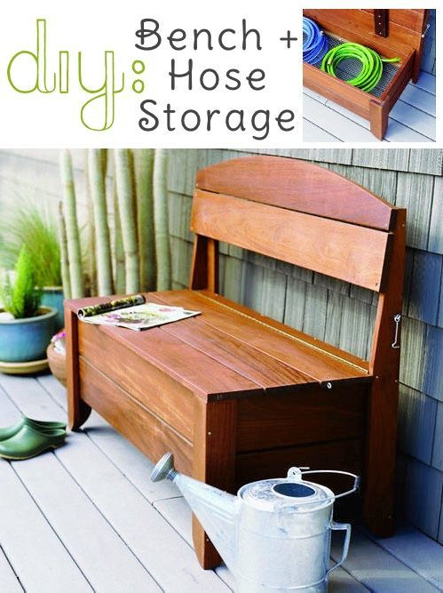 DIY Bench + Hose Storage  |  Straight to instructions:  http://www.sunset.com/garden/backyard-projects/handsome-bench-hides-a-hose: