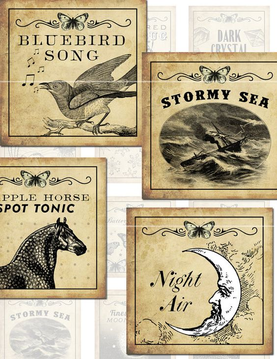 Antique Fantasy Potion Labels III 2x2 inch digital by magicpug $4.00