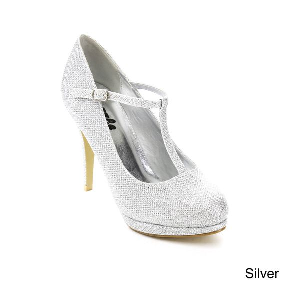 Add a little sparkle to your step with these glitter-woven pumps by Bella Luna. Styled in vegan leather, these heels are made with a T-strap upper and a trendy almond toecap.