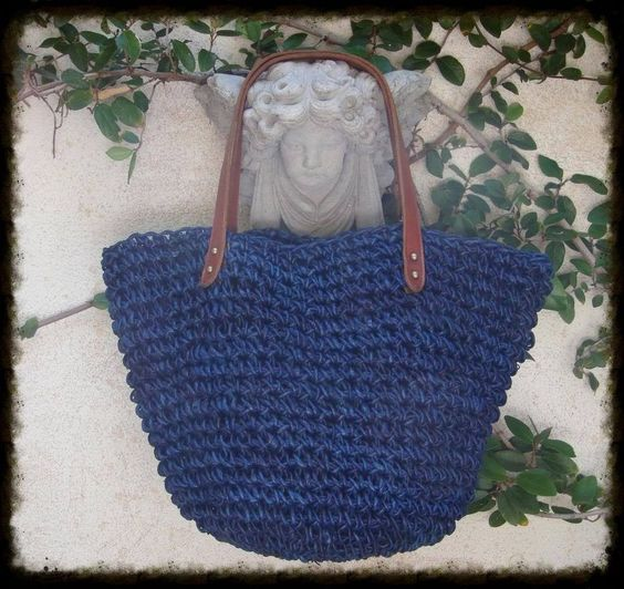 J Jill BLUE Crochet Raffia STRAW & Leather Farmers Market ...