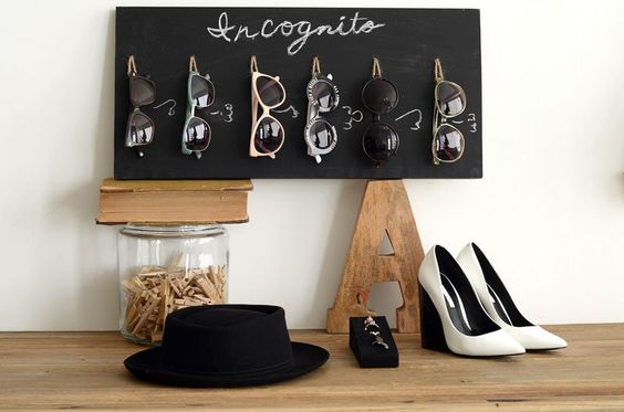 DIY Chalkboard Sunglasses Organizer complete with drawn on noses and nose rings made out of wire and rhinestones! #mrkate #diy #decorate