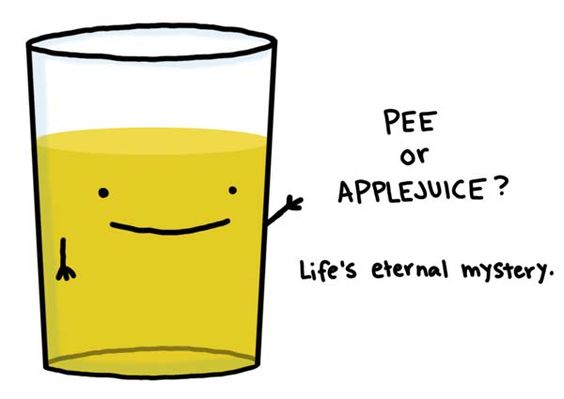 I wonder???pee or Apple juice?? The world may never know