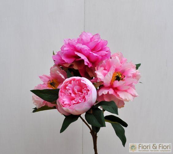 Bouquet di fiori artificiali Peonia Queen rosa