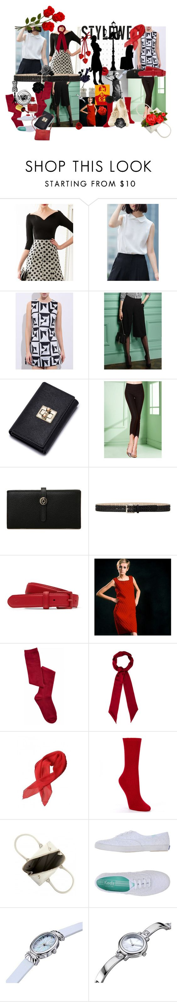 """""""Stylewe does Twiggy"""" by lerp ❤ liked on Polyvore featuring Steve Madden, Lacoste, Henri Bendel, HOT SOX, Furla, Keds, Modalu, Target, NOVICA and stylewe"""