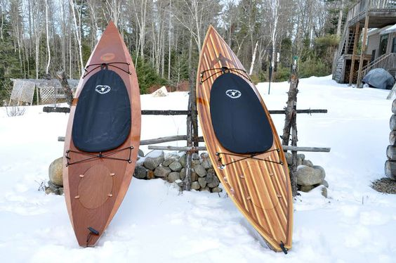 Bob and Sharon E. from Johnsburg, NY., built these two stunning Wood Duck 12 Kayaks. One being a Hybrid with well executed marquetry.