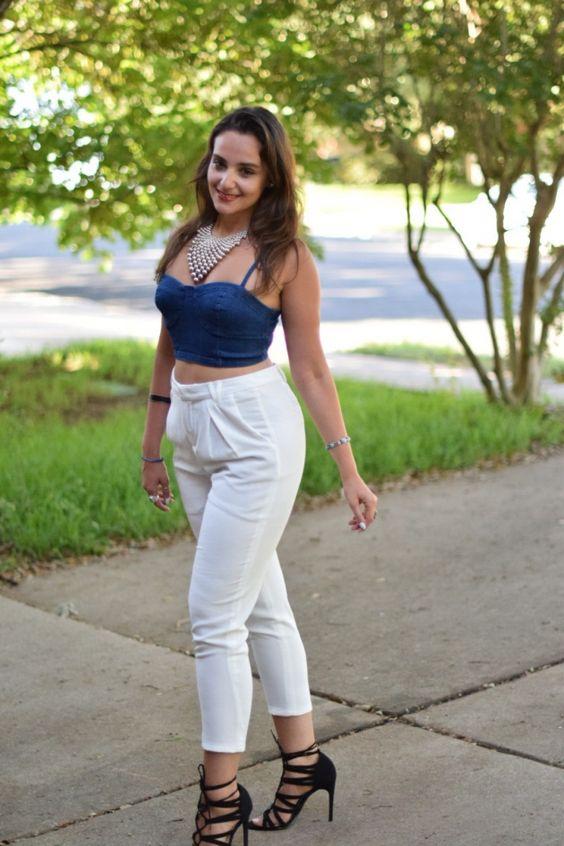 White Pants And Denim Shirt | Gpant