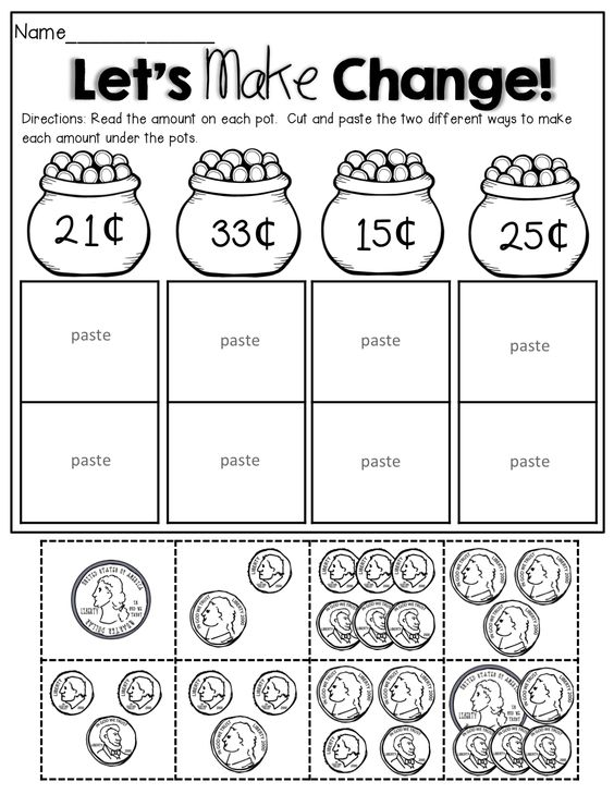 Counting Coins cut and paste 1st Grade Activities – Cut and Paste Math Worksheets