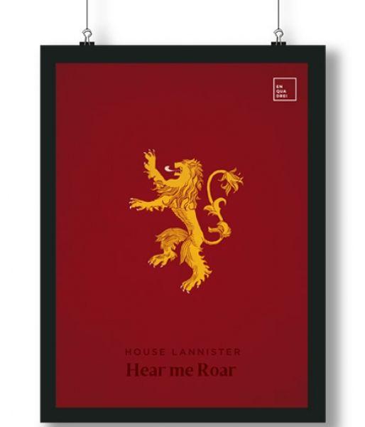 Pôster/Quadro minimalista Game of Thrones Lannister