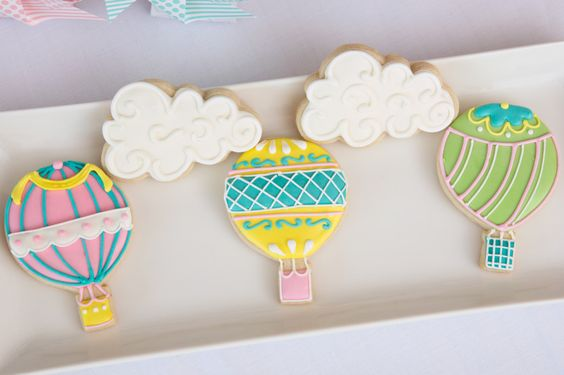 Hot Air Balloon Sugar Cookies - Baby shower Birthday