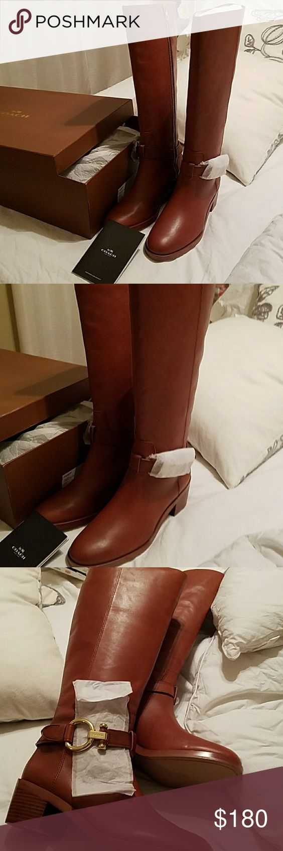Brand new authentic Coach leather Carolina boots Brand new, never worn beautiful Carolina Coach leather riding boots. Still in original box. Purchased from Macy's. Beautiful camel colored. Not a scratch or blemish on them. 3 inch wooden heel. Gold buckle on sides. I SLEPT OUTSIDE ON CHRISTMAS FOR THESE JOKERS, SO DON'T LOWBALL!!! Coach Shoes Heeled Boots