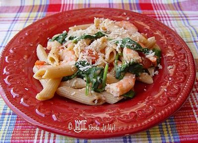 Penne with Tomatoes and Spinach