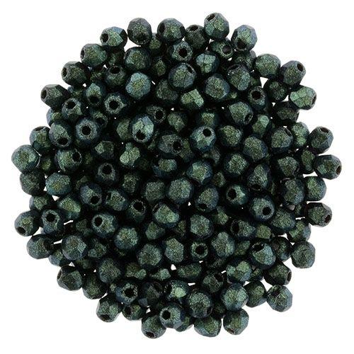 Polychrome Aqua Teal 94104 50 count Fire Polish 2 mm Round Bead,