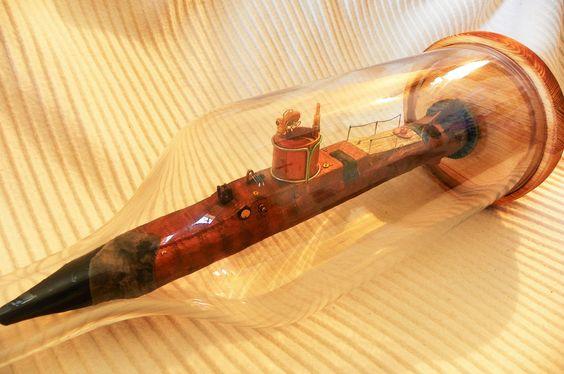 """Aerisceti"" Submarine in a Bottle Scratchbuilt Model Display Handcrafted - Models"