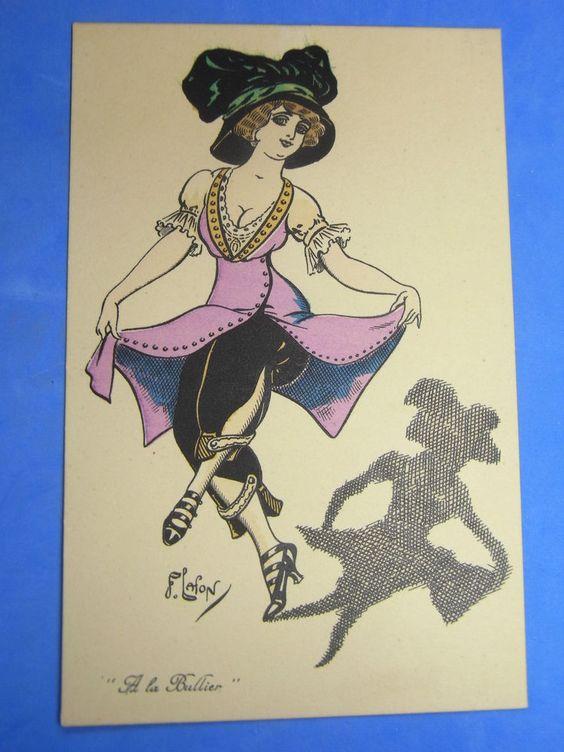 F LAFON Comic Glamour Postcard 1910s Suffragette Harem Skirt Ladies Fashion