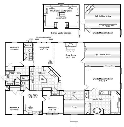One Of My New Favorites As Palm Harbor Homes Is The Hacienda Ii Vrwd66a3 Floor Plan With Opt Grande Modular Home Floor Plans New House Plans Palm Harbor Homes