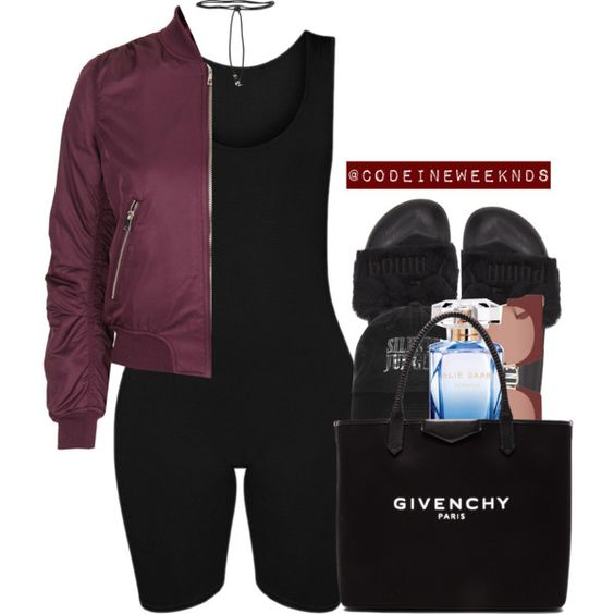 A fashion look from September 2016 featuring Topshop jackets, Puma sandals and Givenchy tote bags. Browse and shop related looks.