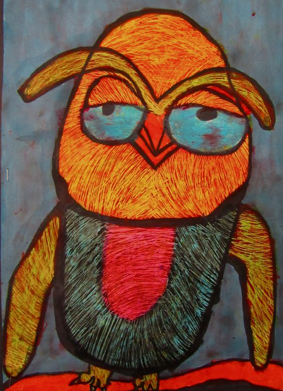 third grade owl, so cool, im wondering what technique she used (paint/sgraffito?)