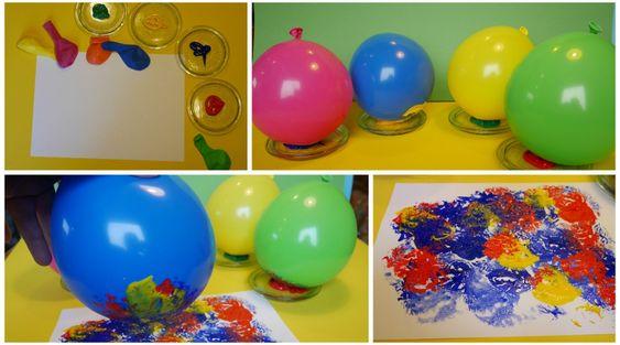 Kindergarten Maltechnik: Luftballondruck