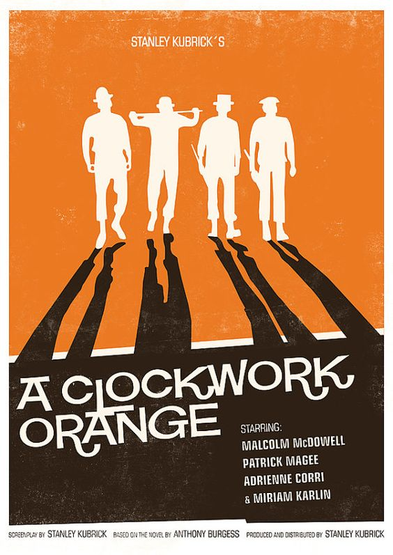 Movie Poster  retro print cinema pop art 60s vintage poster   - Stanley Kubrick - A Clockwork Orange  modernist  vintage style A3. $21.00, via Etsy.