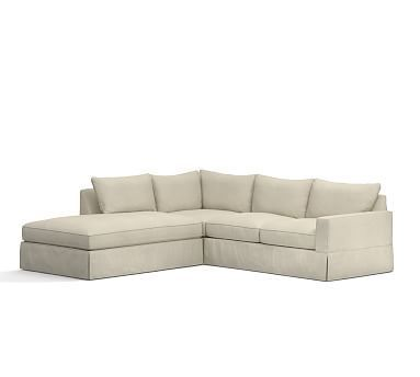 PB Comfort Square Arm Right 3-Piece Bumper Sectional Slipcover, Knife Edge, Premium Performance Basketweave Oatmeal